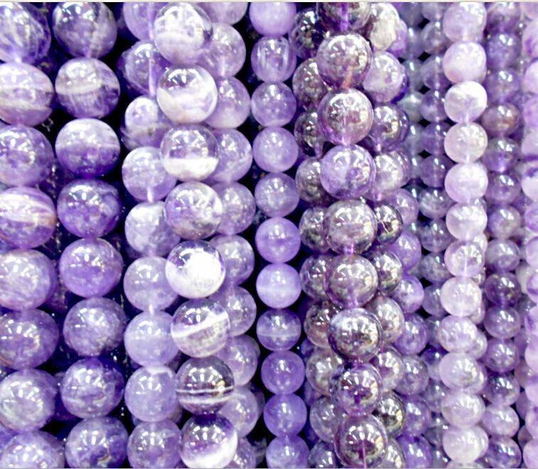 Free Shipping 6 8 10mm Natural Stone Beads Bracelet Round Bosi Stone Purple Color For Jewelry Making Beads