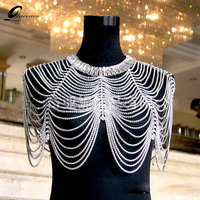 New Luxury Bridal Shoulder Chains Noble Wedding Body Chian Big Necklace Jewelry Full Rhinestone Women Shoulder Straps