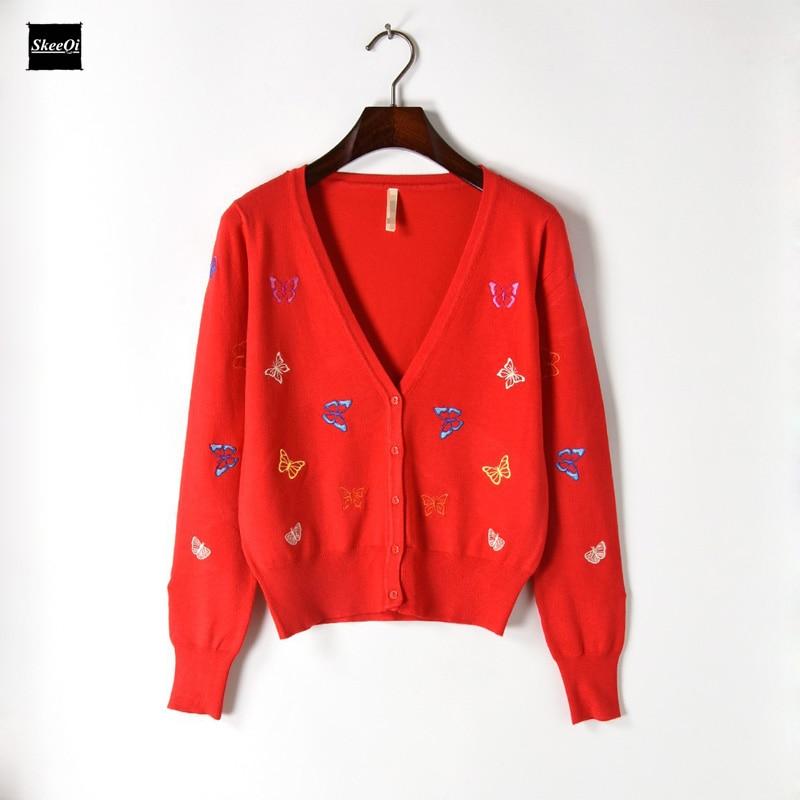 2018 Spring Knit Sweater Women Luxury Runway Design Butterfly Outwear Slim Button Casual Knitwear Coat Jumper Cardigan Female
