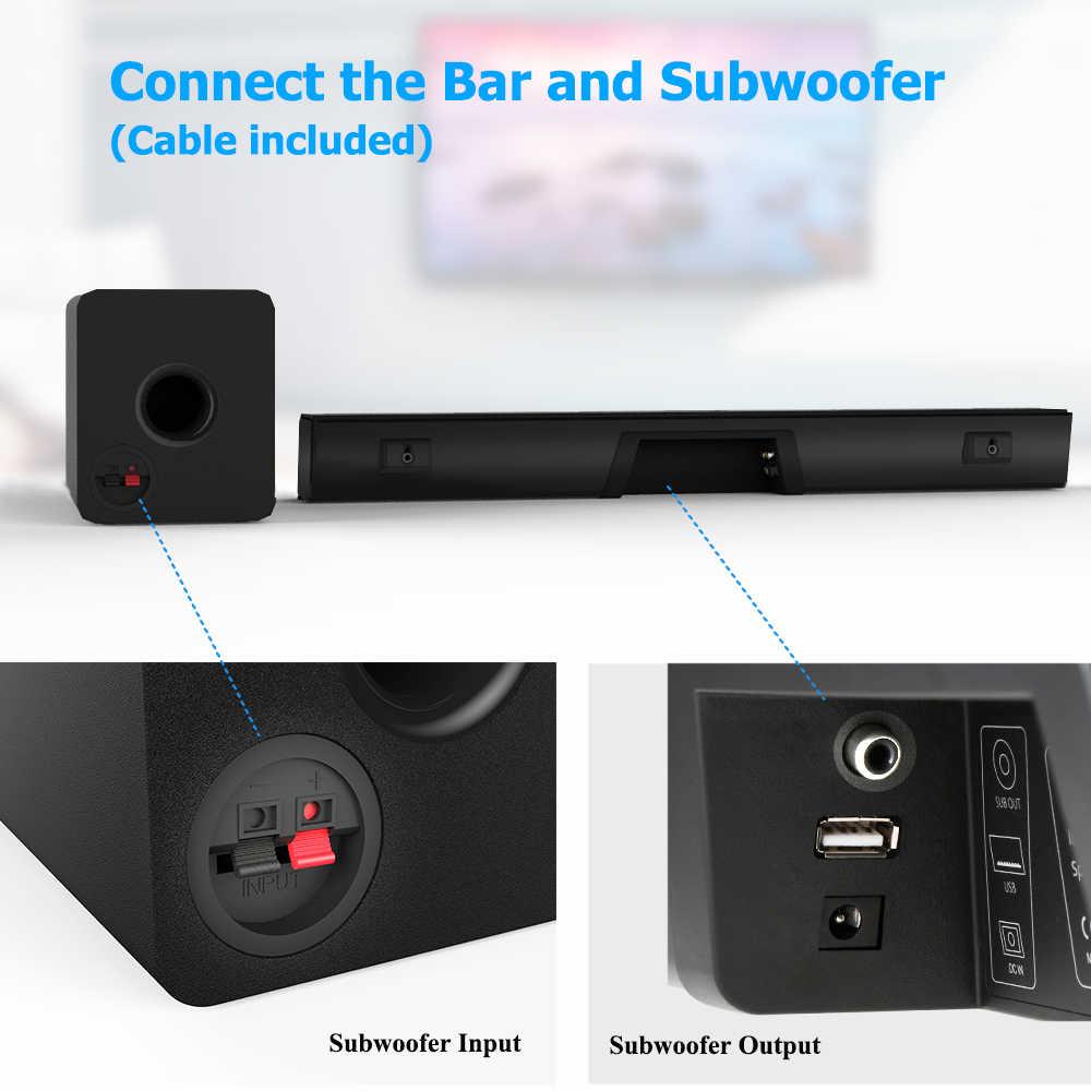 100 واط TV SoundBar 2.1 سمّاعات بلوتوث 5.0 نظام مسرح منزلي ثلاثية الأبعاد محيطي> 80 ديسيبل ساوند بار التحكم عن بعد مع مضخم للصوت للتلفزيون