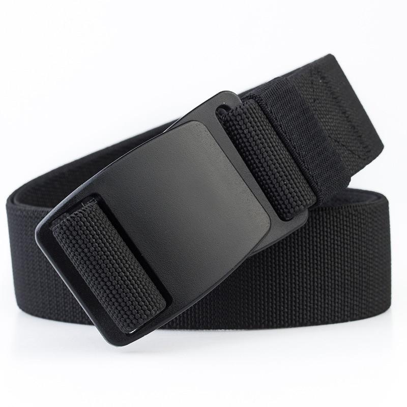 Tactical Men's Elastic Belt Black Plastic Buckle Army Military Adjustable Outdoor Waistband Plastic Fastener Leisure Belts Blue