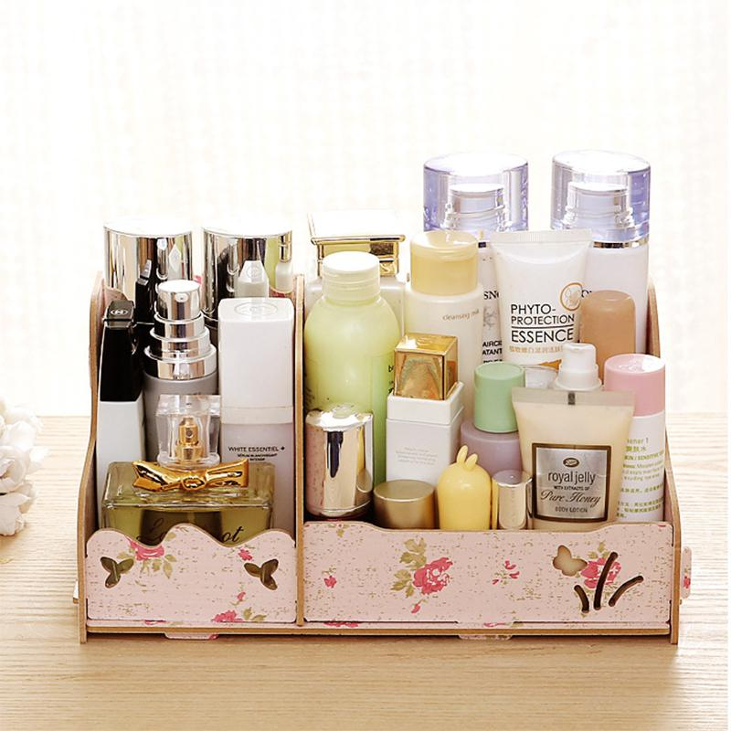 Makeup Organizer Storage Box  DIY Wood Cosmetic Organizer Makeup Storage Drawers Desktop Organizer