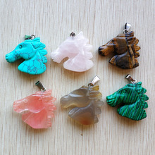 2018 hot sell carved mixed natural stone horse charms pendants for necklace jewelry making 6pcs/lot  Wholesale Free shipping