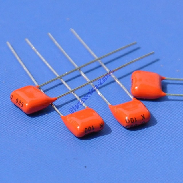 ( 200 pcs/lot ) 33nF 100V MKT Metallized Polyester Film Capacitor, 0.033uF.
