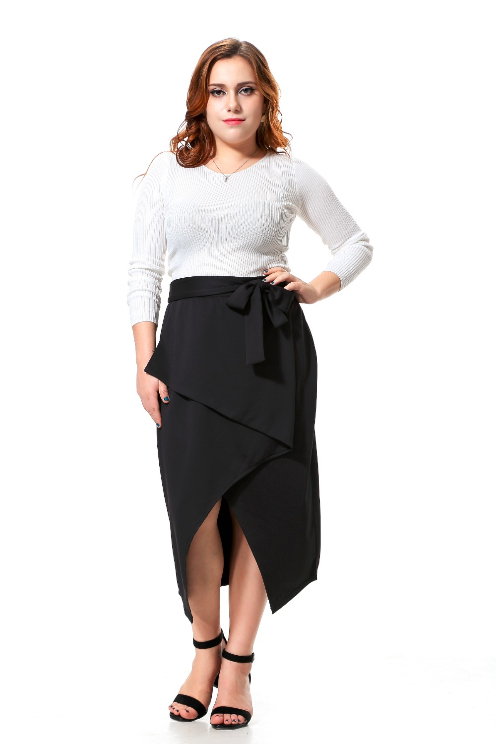 Plus Size Party Skirt Women With Belt Design Black -6835