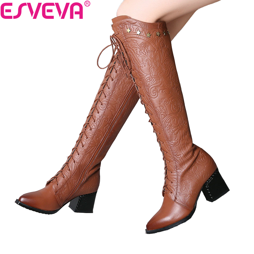 ESVEVA 2018 Women Boots Square High Heels Cow Leather PU Warm Fur Pointed Toe Knee-high Boots Brown Ladies Boots Size 34-39 esveva 2018 women boots zippers square high heels appointment warm fur pointed toe ankle boots chunky ladies shoes size 34 39