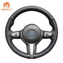 MEWANT Noir Daim Couverture De Volant de Voiture pour BMW M Sport F30 F31 F34 F10 F11 F07 X5 F15 M50d X6 F16 M50d F20 F21 M135i M140i