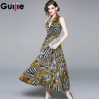 Guijie Sexy Deep V Leopard Print Dresses Women Summer Sleeveless Halter Vintage Long Boho Party Cocktail Casual Fitted Dress