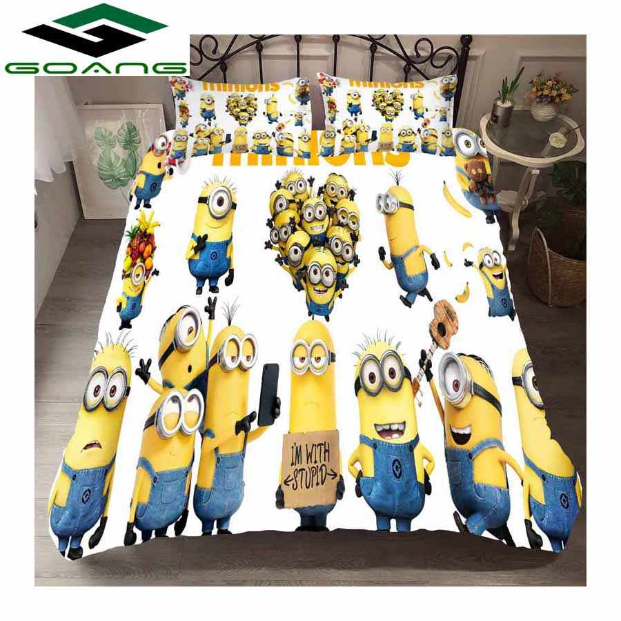 GOANG bedding set 3d digital printing cartoon minions bed linen duvet cover pillow 3pcs kids bedding room decoration gift