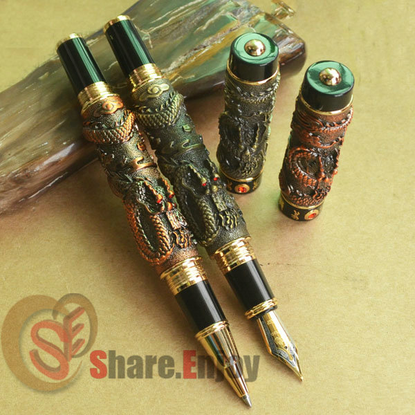 2 PCS JINHAO TWO DRAGON PLAY PEARL BRASS BROAD NIB FOUNTAIN PEN COPPER ROLLER BALL PEN SET цены