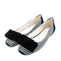 Women S Bow Boat Shoes On Flats Big Size 34 40 Flock Weaving Square Closed Toe