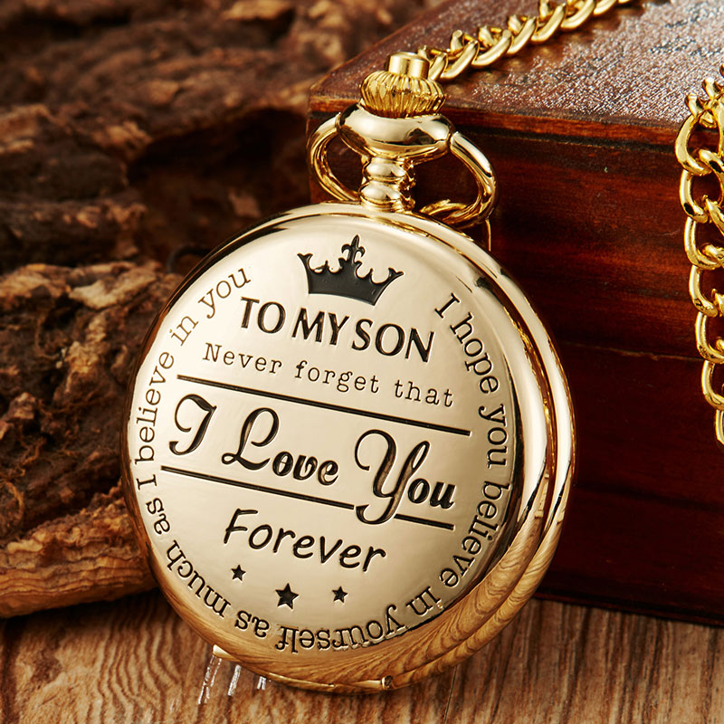 Quartz Pocket Watches Mens To My Son I Love You Golden Clock For Kids Child Pocket Watch Necklace Chain Children's Day Gifts