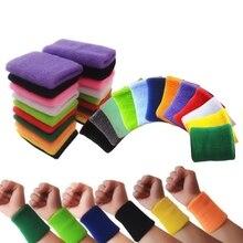 Качественные хлопковые браслеты, предотвращающие потливость, одноцветные повязки на запястье, спортивные браслеты унисекс для спорта тенниса