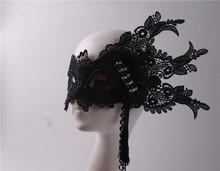 цена на Black lace side flowers half face masquerade party mask Halloween annual meeting adult exaggerated mask