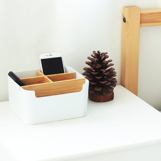 Pencil Holder 5 Compartments Stationery Desk Organizer Bamboo Office Storage supplies for Living Room