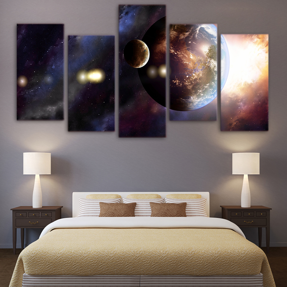 Hot Sale Canvas Living Room Pictures Home Decor 5 Panel Universe Aluminum Based Printed Circuit Boards For Led Lighting Buy Samsung Galaxy Planet Painting Wall Art Modular Poster Frame Hd Modern