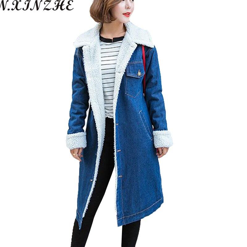 N.XINZHE Autumn Denim Long Coat 2017 Winter <font><b>Jacket</b></font> Women lambswool jeans <font><b>Jackets</b></font> Single Breasted Loose Warm Jeans Coat Parkas