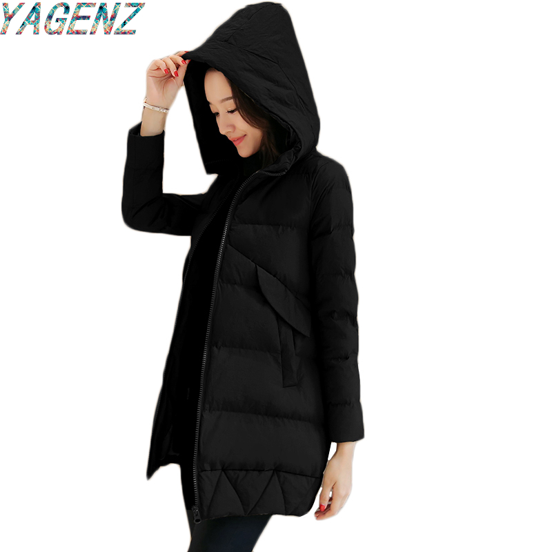 YAGENZ Winter Women Cotton Down Jacket 2017 Fashion Slim Cotton Jacket Female Middle-Long Coat Women's Hooded Cotton Down Jacket