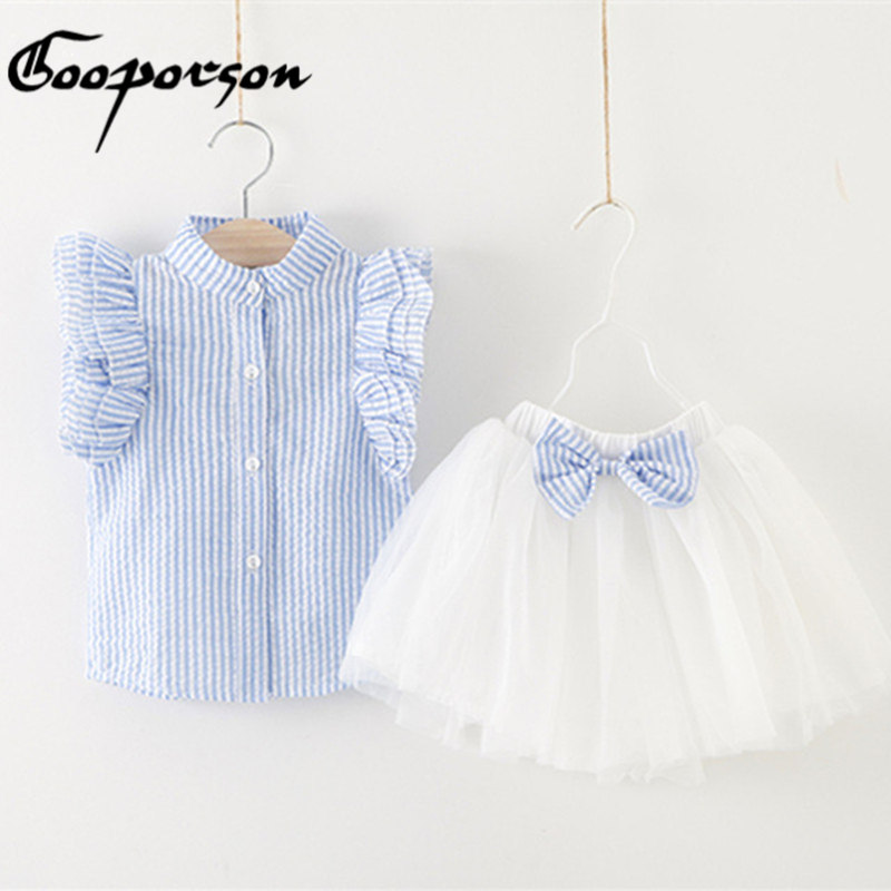 Girl Clothes Summer Style Girls Clothing Sets Butterfly Sleeve Striped T-shirt& Bow Short Skirt 2Pcs Girls Suits Kids Clothes 2pcs children outfit clothes kids baby girl off shoulder cotton ruffled sleeve tops striped t shirt blue denim jeans sunsuit set