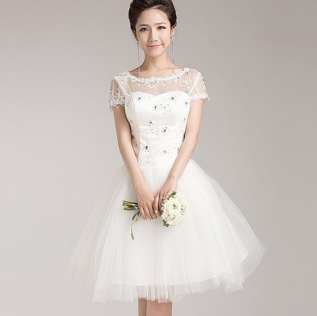 Free Shipping White Short Wedding Dress 2015 Short Sleeve High