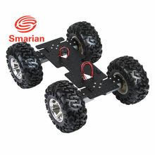 smarian 4WD Cross robot Smart metal car chassis with 25 high torque motor with Hall sensor and 130mm diameter wheel diy rc toy(China)