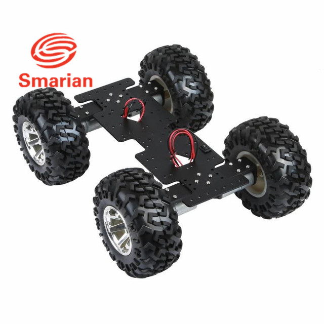US $86 56 5% OFF|smarian 4WD Cross robot Smart metal car chassis with 25  high torque motor with Hall sensor and 130mm diameter wheel diy rc toy-in