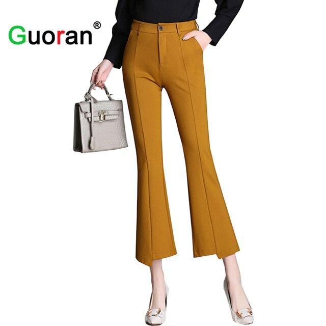 215c4b630da  Guoran   2018 Wide Leg women capris pants office lady wear to work plus  size
