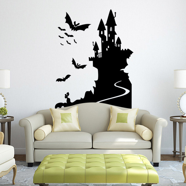 9423 Halloween Bat Castle And Haunted House Stickers Halloween Party Wall Decals For Ent ...