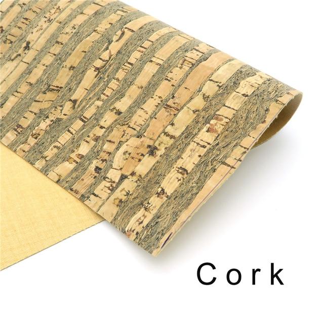 Cork fabric 65*50cm/25.5*19.6inch Wood grain Natural cork leather natural Material Kork Cor-49