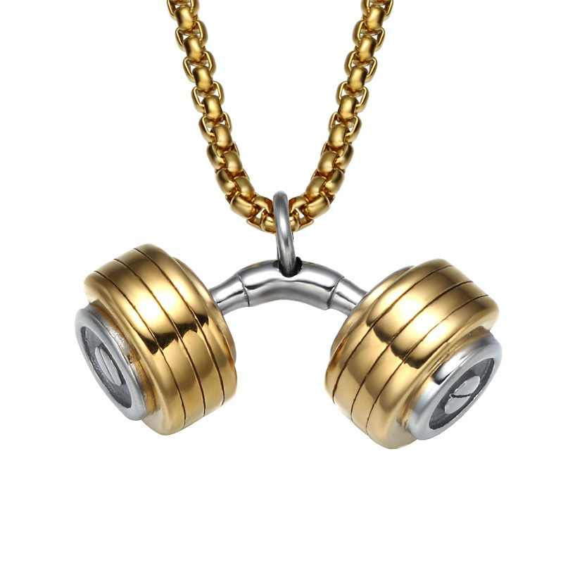 d969ef0359d HIP Mens Dumbbell Necklace Two Tone Titanium Stainless Steel GO FIT Gym  Fitness Barbell Pendants Necklaces