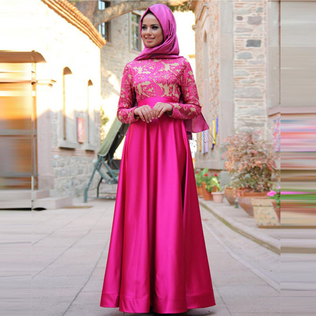 Charming Rose Red Kaftan Evening Dress with Long Sleeve Elegant Lace ...