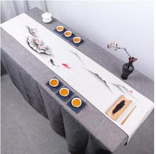 Ink painting table runner style cotton linen Coffee table cloth cover decorative tablecloth household decor
