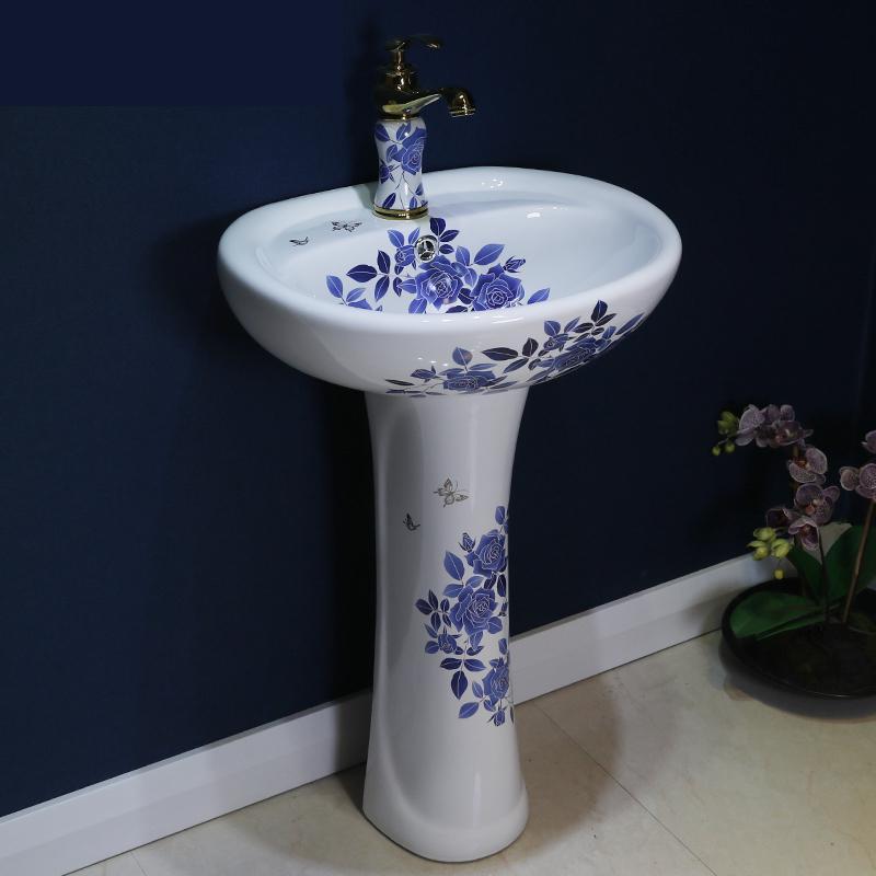 billion bird balcony pedestal washbasin bathroom ceramic pedestal basin floor type household vessel sinks blue and white
