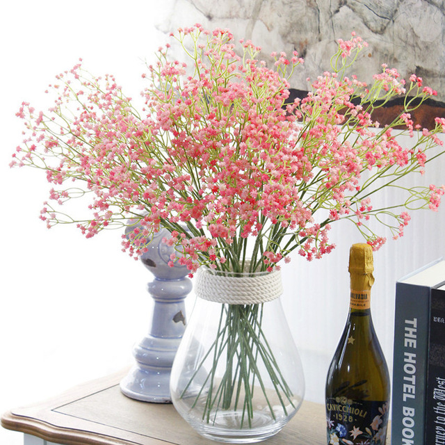Colourful Pink Green Blue Baby S Breath Real Touch Artificial Flowers Plant Home Wedding Decoration