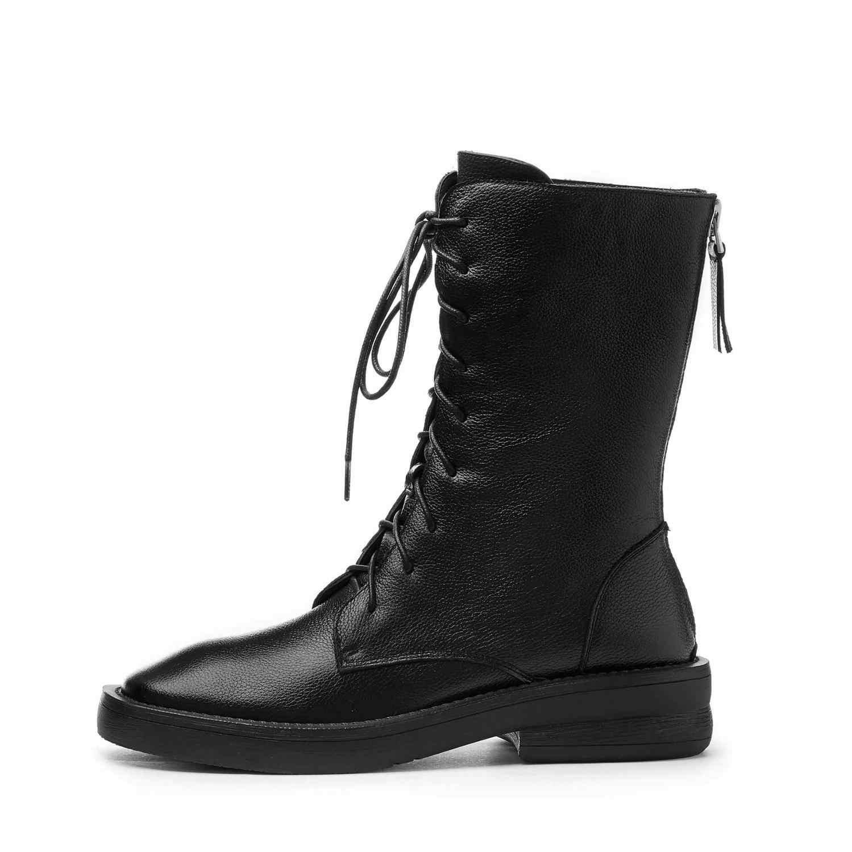 Krazing pot hakiki deri med topuklar Kış yuvarlak ayak çapraz bağlı lace up sıcak tutmak güzellik yakışıklı sürme orta buzağı çizmeler l88