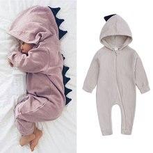 Cartoon 3D Dinosaur Baby Rompers Cotton Full Sleeve Hooded Newborn Baby
