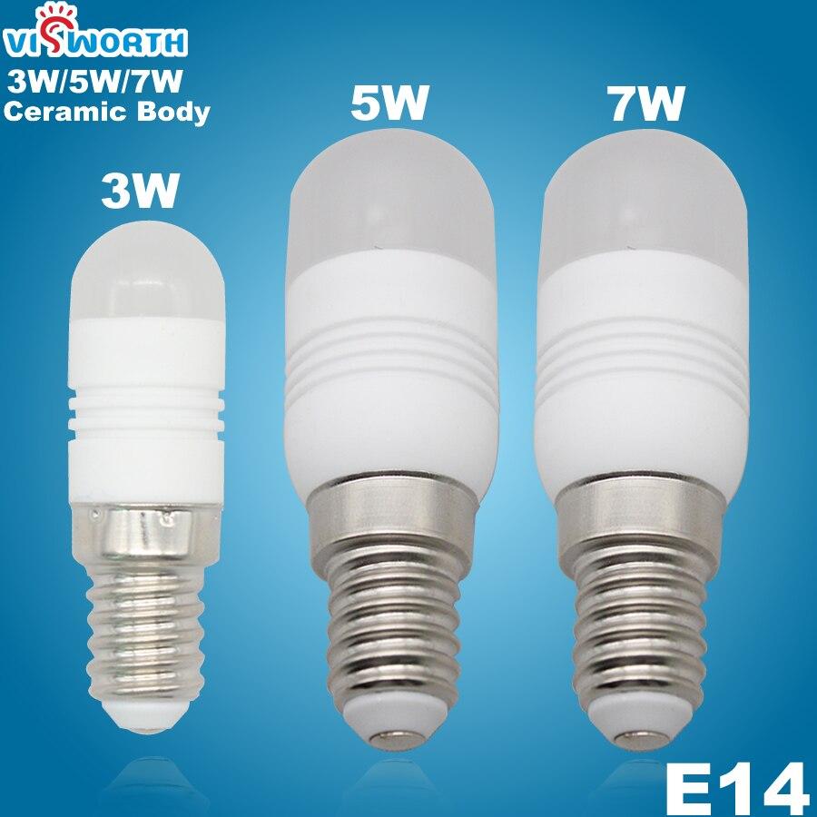 Mini Ceramic Body 3W 5W 7W Led Bulb E14 Refrigerator Lamp AC 110V 220V 240V SMD3014 24pcs Leds Warm Cold White Spotlight