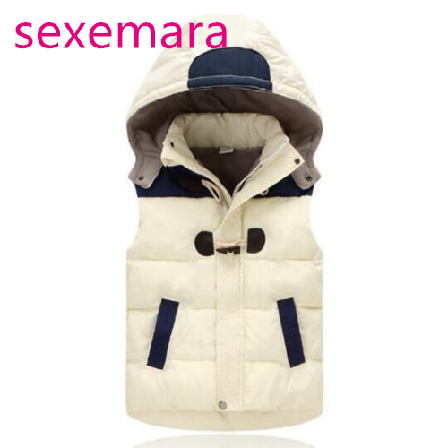 2017 Vest Kids Girls Boys Winter Warm Thick Plus Velvet Duck Fashion Zipper Hoody Vest Tops Waistcoats Hooded Children Coat