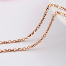 Rose Gold Chain Flated Wholesale Free Shipping Jewelry New Fashion Women Jewelry Rose Gold Fine Chain Necklaces(China)