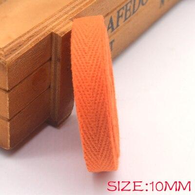 Новые цветные 10 мм шеврон хлопок ленты тесьма сельдь bonebinding ленты кружева обрезки для упаковки аксессуары DIY - Цвет: orange 607