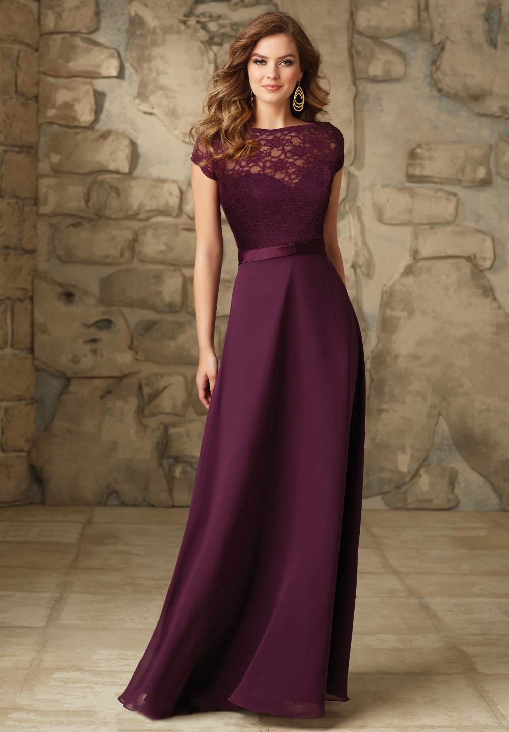 Wedding Party Dress Grape Chiffon Plus Size Modest Plum Bridesmaid Dresses Short Sleeves Purple Maid Of Honor Gowns B179 In From Weddings