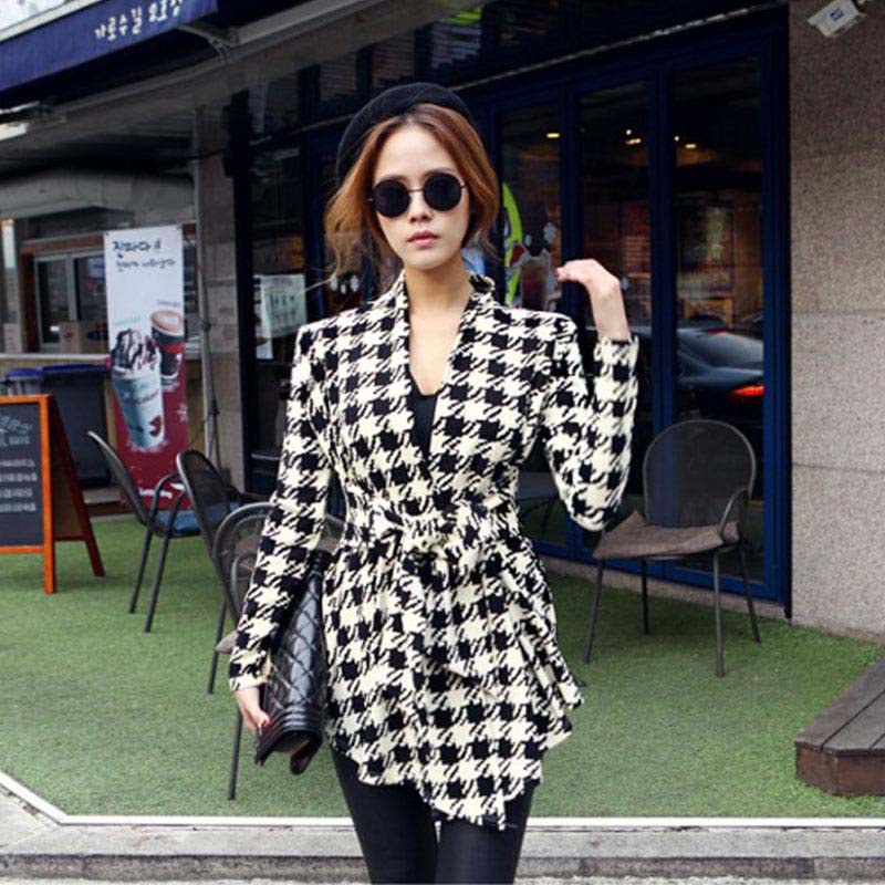 Korean Womens Houndstooth Pattern Thin Cardigan Coat Jacket Outwear free shipping jeans con blazer mujer