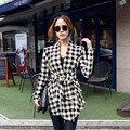 Snowshine #3055 Mujeres Coreanas Patrón de pata de Gallo Delgado Cardigan Chaqueta de la Capa Outwear el envío libre
