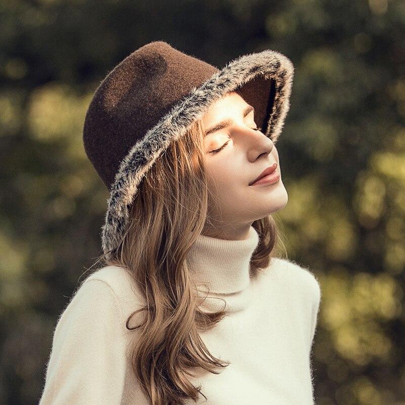 New Arrival Panama Hat Adult Fashion Woolen Cap Girls Wide Brim Warm Panama Cap Girls British Leisure Felt Hat B-7871