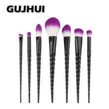 Best Deal New Fashion 7PCS Purple Fiber Make Up Foundation Powder Eyeshadow Blush Cosmetic Concealer Brushes Beauty Tools Set