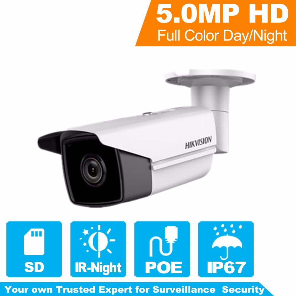Hikvision H.265 5MP Network Bullet Camera DS-2CD2T55FWD-I5 English Version HD IP Camera Built-in SD Card slot 50m IR IP67