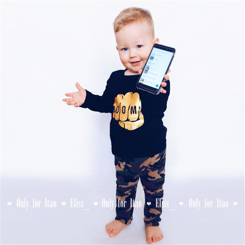2018 Autumn Camouflage Newborn Baby Boy Toddler Clothes Sets T-shirt Tops Long Sleeve Pants Cotton Outfits Sets Clothing Hsp008 2018 spring newborn baby boy clothes gentleman baby boy long sleeved plaid shirt vest pants boy outfits shirt pants set