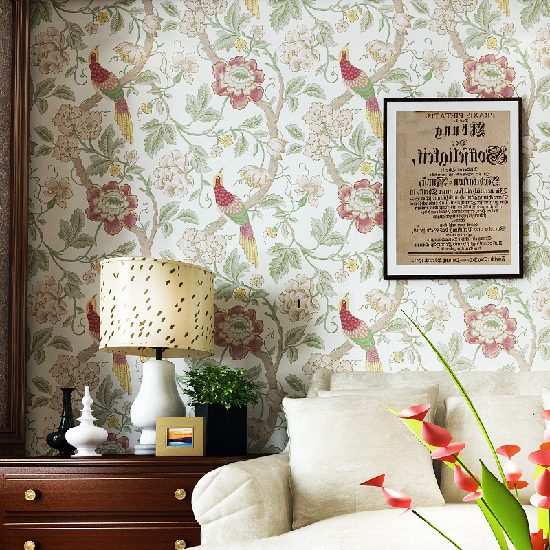 ФОТО Southeast Asian non-woven wallpaper imitation rice crown embroidery American bird wallpaper bedroom living room TV wall entrance