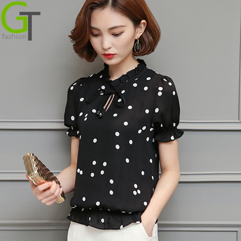 2017 New Casual Chiffon Blouse Polka Dot Summer Women ...