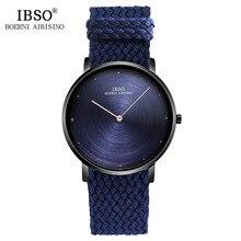 IBSO 7MM Ultra-thin Mens Watches 2019 Nylon Braided Strap Quartz Wristwatch Blue Fashion Male Clock Luxury Relogio Masculino